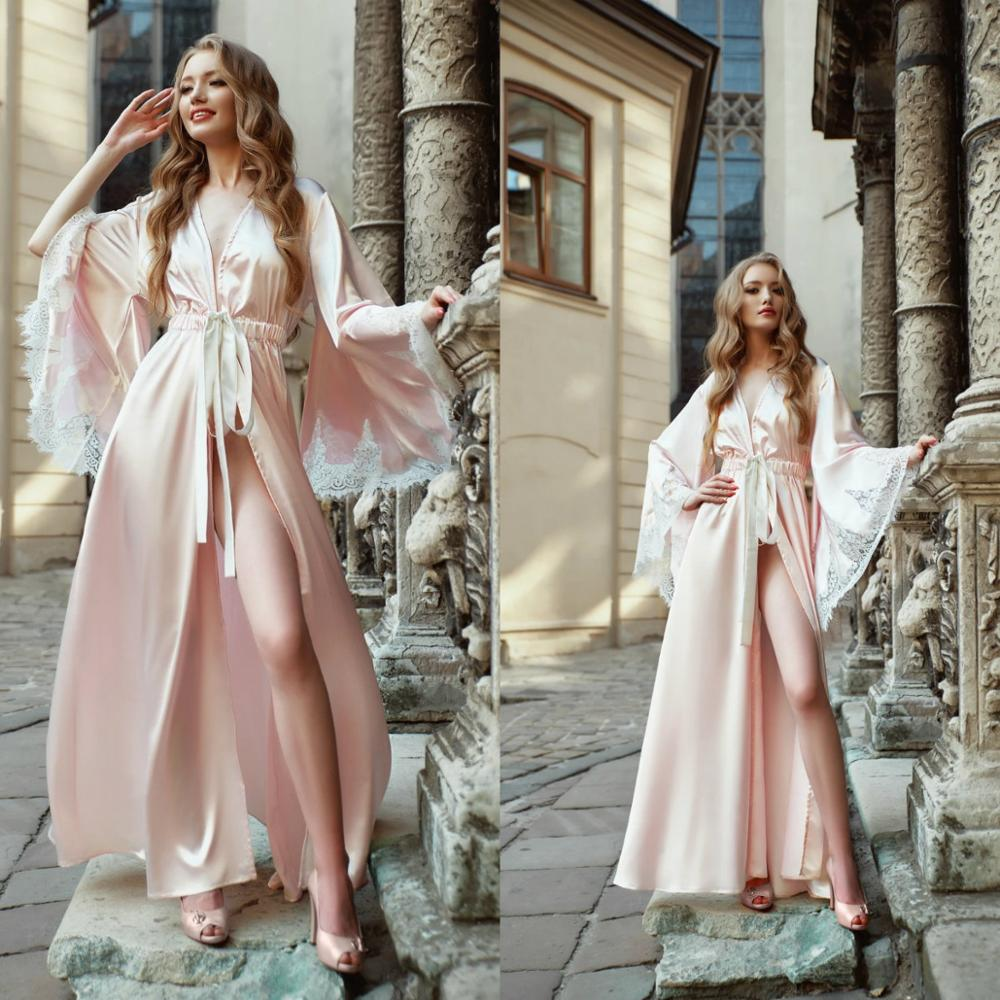 Light Pink Bridal Dress Satin Silk Long Bathrobe Women Lingerie Nightgown Pajamas Sleepwear Women's Gowns Housecoat Nightwear