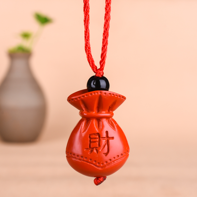 Chinese Natural Red Organic Cinnabar Fortune Bag Necklace Pendant Hand-carved Charm Jewellery Fashion Man Lucky Amulet Gifts