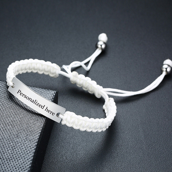 Cutosm Rope Bracelet White Colr String Link Stainless Steel Bar Personalized Women Wristband image