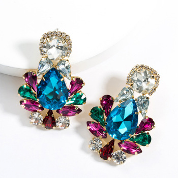 KMVEXO Colorful Crystal Drop Earrings Women Round Geometric Pendant Dangle Earrings Indian Bridal Statement Jewelry Party Bijoux 11