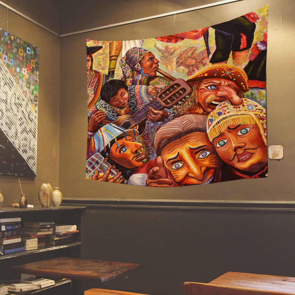ภาพวาดสีน้ำมัน Tapestry Wall แขวนผ้าคลุมเตียงขนาดใหญ่สไตล์ญี่ปุ่นสิ่งทอสำหรับร้านอาหารบ้านผนังตกแต่ง
