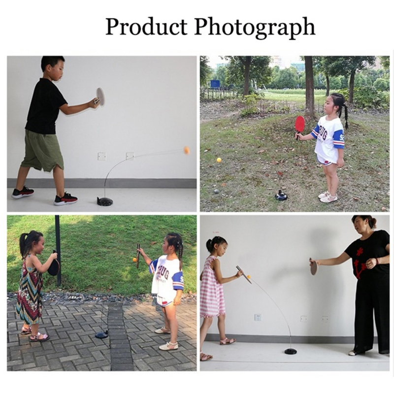 Kid Adult Elastic Soft Shaft Table Tennis Trainer Soft Practical Durable Training Ball Leisure Decompression Sports(base Random
