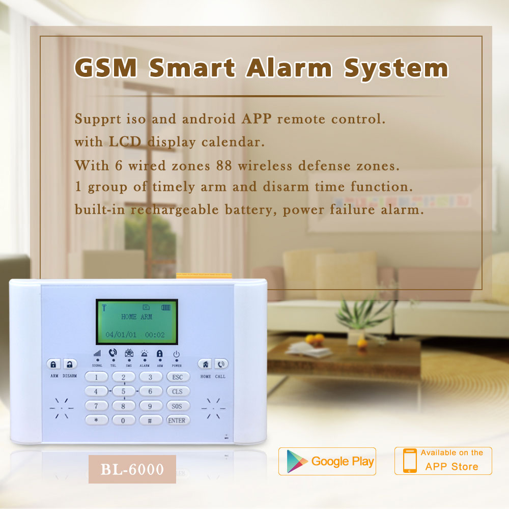 Smart Home Wireless GSM Burglar Alarm Security System LCD Fire/Door Detector Anti theft Timing Arm/Disarm Alert Push To Mobile - 6