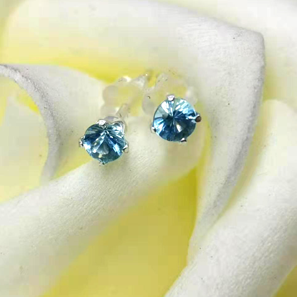 3 мм Темно-Синий Апатит натуральный женские серьги-гвоздики 925 пробы серебряные серьги ювелирные украшения подарок на день Святого Валентина подруге
