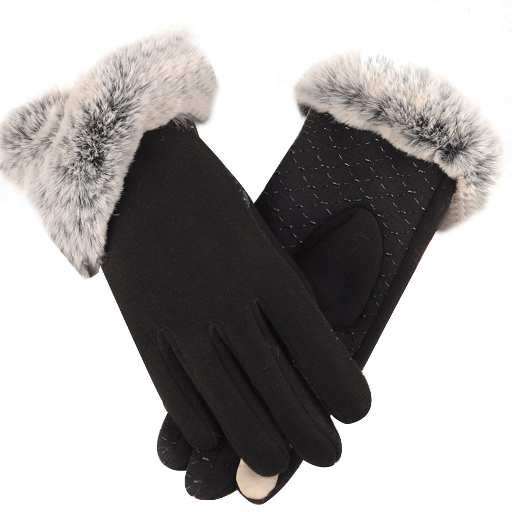1 Pair Winter Women Gloves Autumn Knitting Phone Playing Protective Keep Warm Casual Windproof Mirco Velvet Reusable Washable