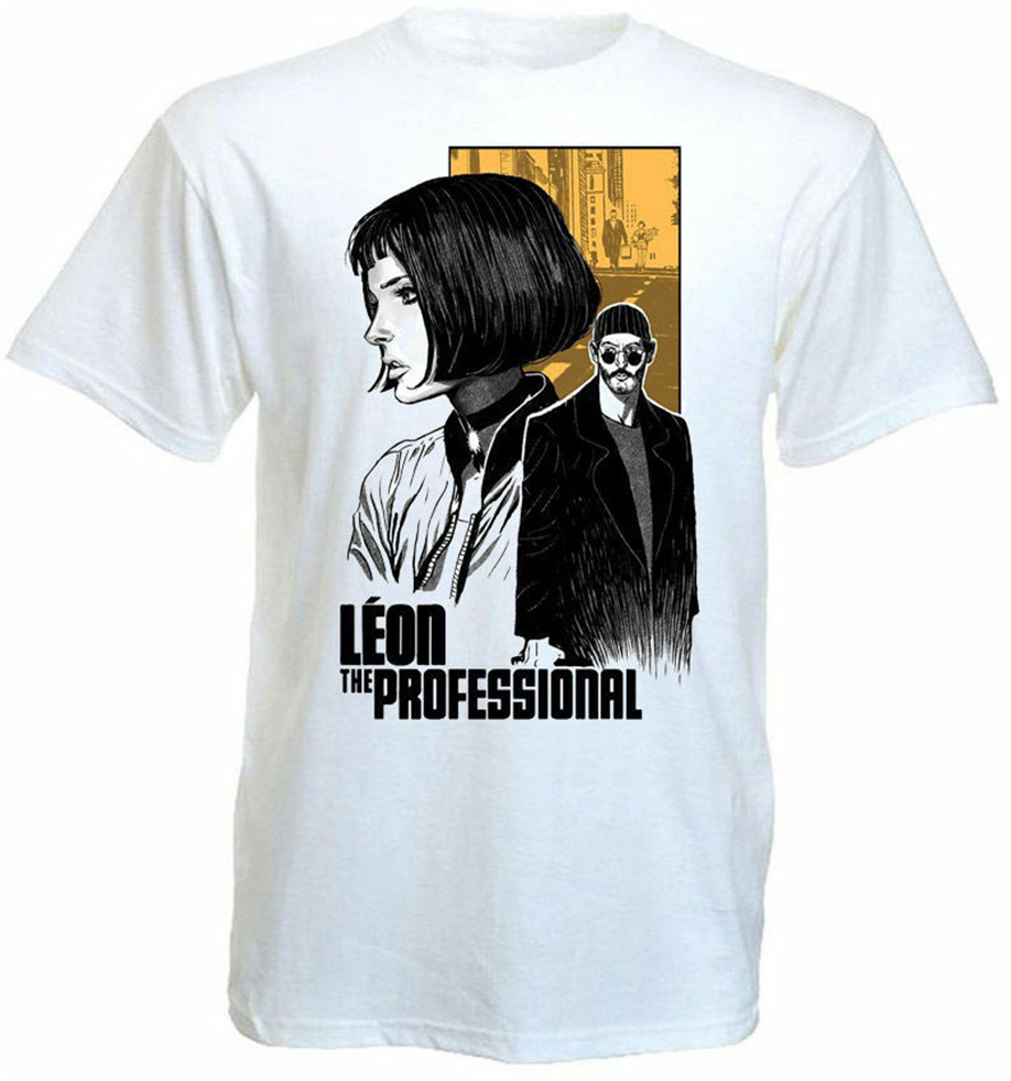 Leon The Professional <font><b>V8</b></font> <font><b>T</b></font> <font><b>Shirt</b></font> White Movie Poster All Sizes S-3Xl For Youth Middle-Age The Old Tee <font><b>Shirt</b></font> image