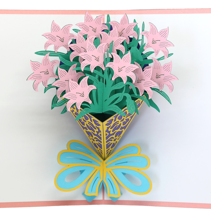 Manufacturers Supply MOTHER'S Day 3D Cape Jasmine Bouquet Cards Teachers Thanksgiving Card Handmade Paper Art Customizable Cards