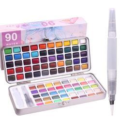 50/90 Colors Watercolor Paint Set- 50 Vibrant Colors 36 Glitter Metallic Colors 4 Neon Colors -3 Water Brush Pens-1 Paint Brush