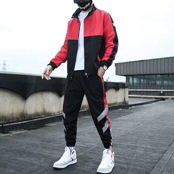 New Autumn Tracksuits Men Set Patchwork Hoodies+Pants Suit Zipper Hooded Sweatshirt Sportswear Set Male Hoodie Sportswear Suits