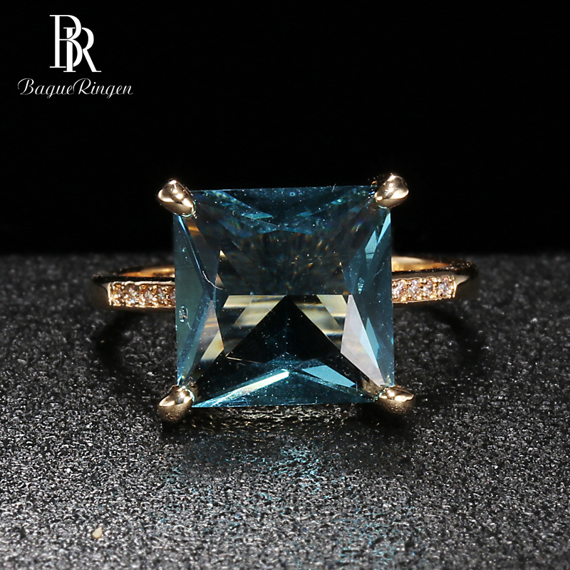Bague Ringen Classic Silver Ring Sterling S925 Jewelry For Women Square Gemstones Wedding Ring Geometry Aquamarine Engagement
