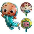 Cocomelon воздушные шары с 32 дюймов Тиффани синие воздушные шары с числами фон с флагами точками для День рождения Декор ТВ Показать игрушки для ...