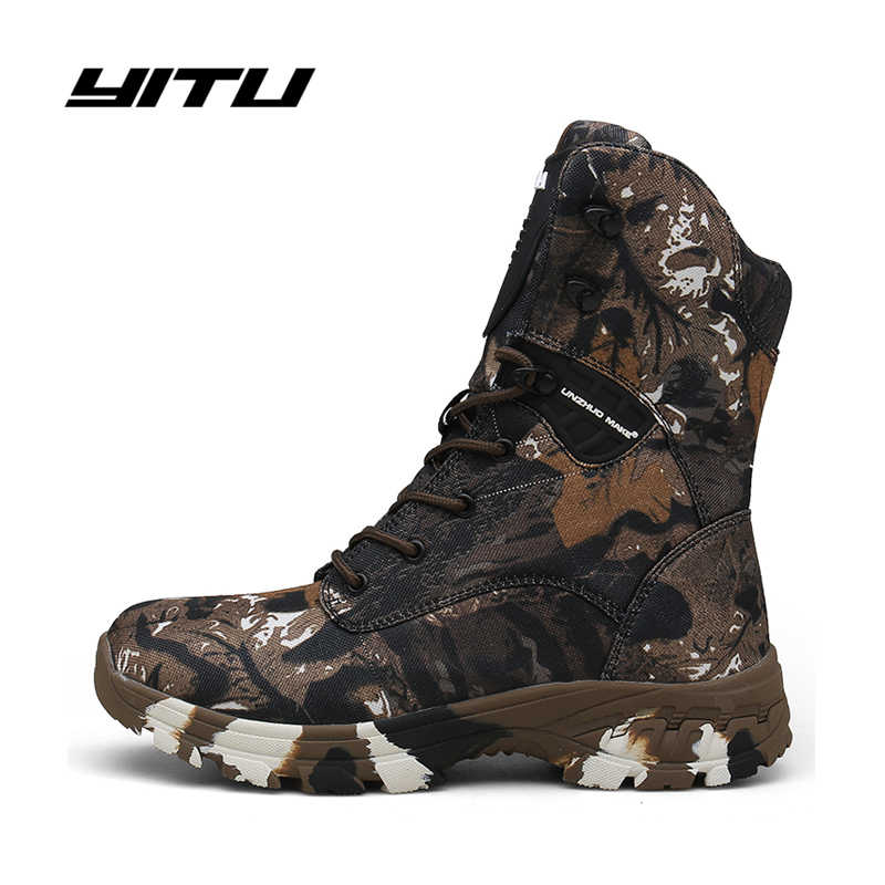 Military Tactical Mens Boots Camouflage Autumn Winter Leather Waterproof Desert Combat Ankle Boots Army Work Safety Shoes