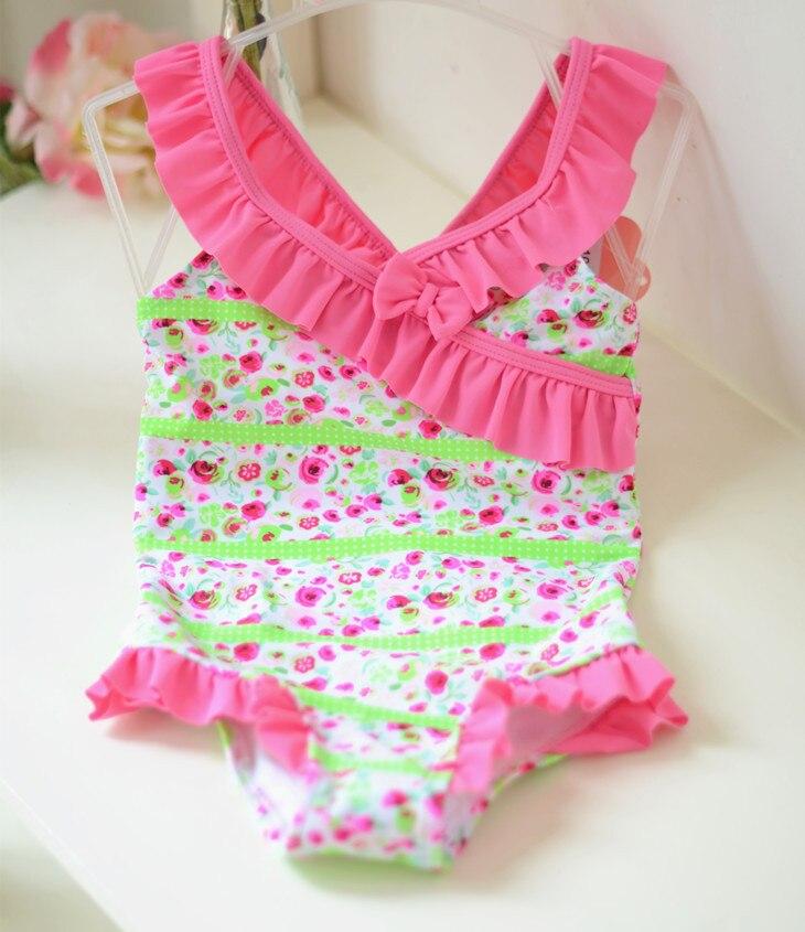 Micro Pink Roses Printed One-piece Swimwear KID'S Swimwear Small Children Girls Cute