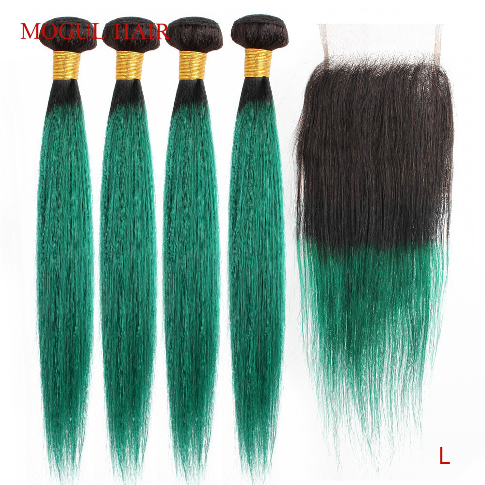 MOGUL HAIR T 1B Green Ombre Human Hair 2/3 Bundles With Closure Brazilian Straight Remy Hair Weave Extension 10-26 Inch