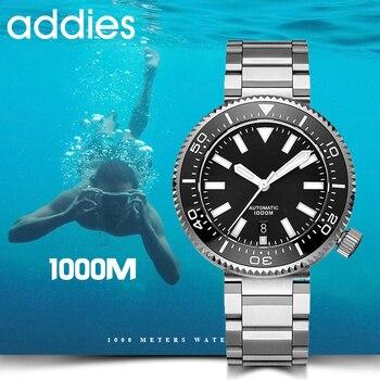 2019 nova moda relógio de aço inoxidável mergulhador relógio 1000 m resistente à água vidro safira cerâmica moldura azul luminoso