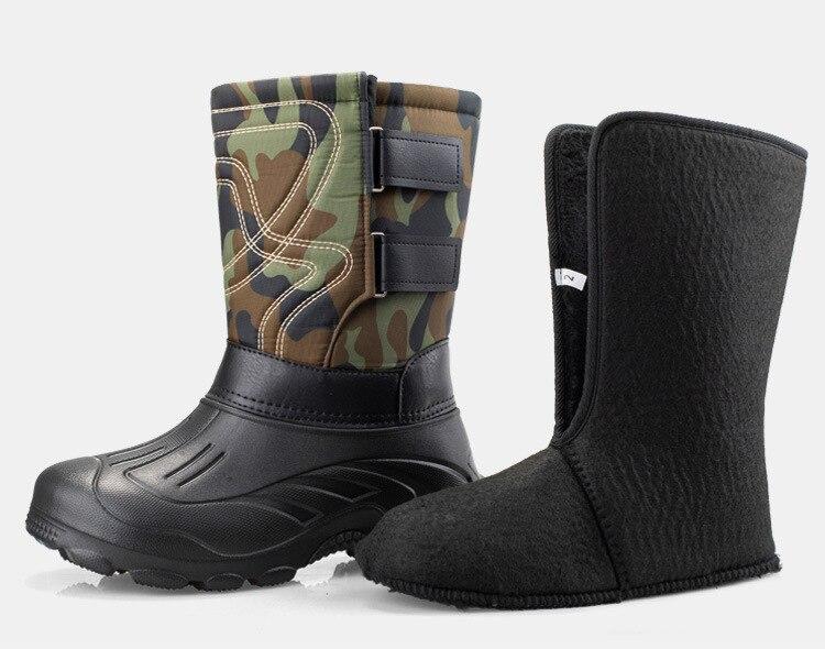 -45 градусов, зимняя камуфляжная Мужская обувь для дождливой погоды, резиновые сапоги из водонепроницаемой натуральной шерсти, теплые мужск...