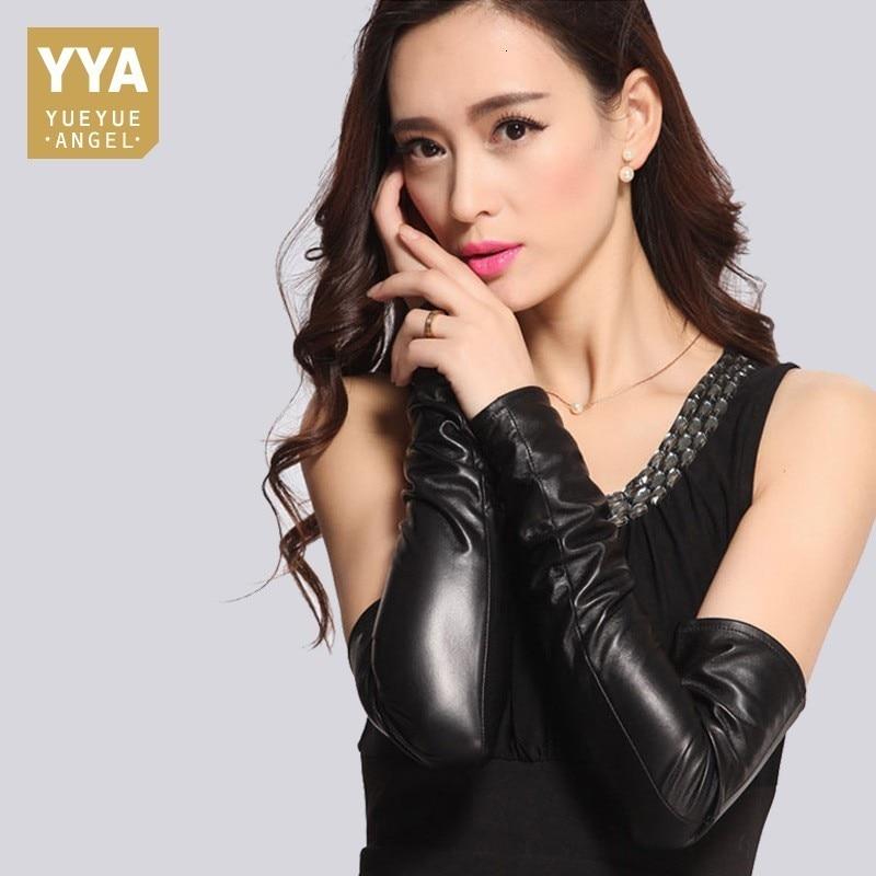 2020 High Quality Luxury Womens Gloves Genuine Leather Female Fingerless Gloves Fashion Solid Long Luva Feminina Plus Size M-XL
