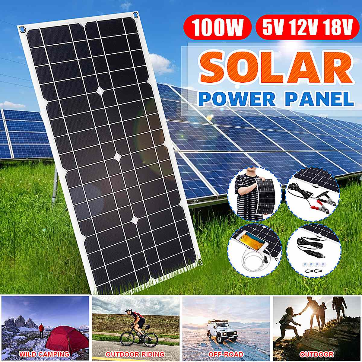 <font><b>100W</b></font> <font><b>Solar</b></font> <font><b>Panel</b></font> USB 5V DC <font><b>12V</b></font> With 10/20/30A Controller Flexible <font><b>Solar</b></font> cells for Car Yacht Battery Charger Waterproof image
