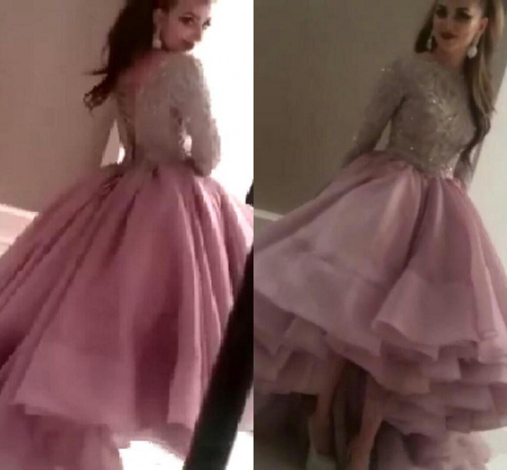 Real Image Arabic Hi Lo Prom Gown With Sequined Long Sleeves Lace Skirts Organza Vestido De Baile Mother Of The Bride Dresses