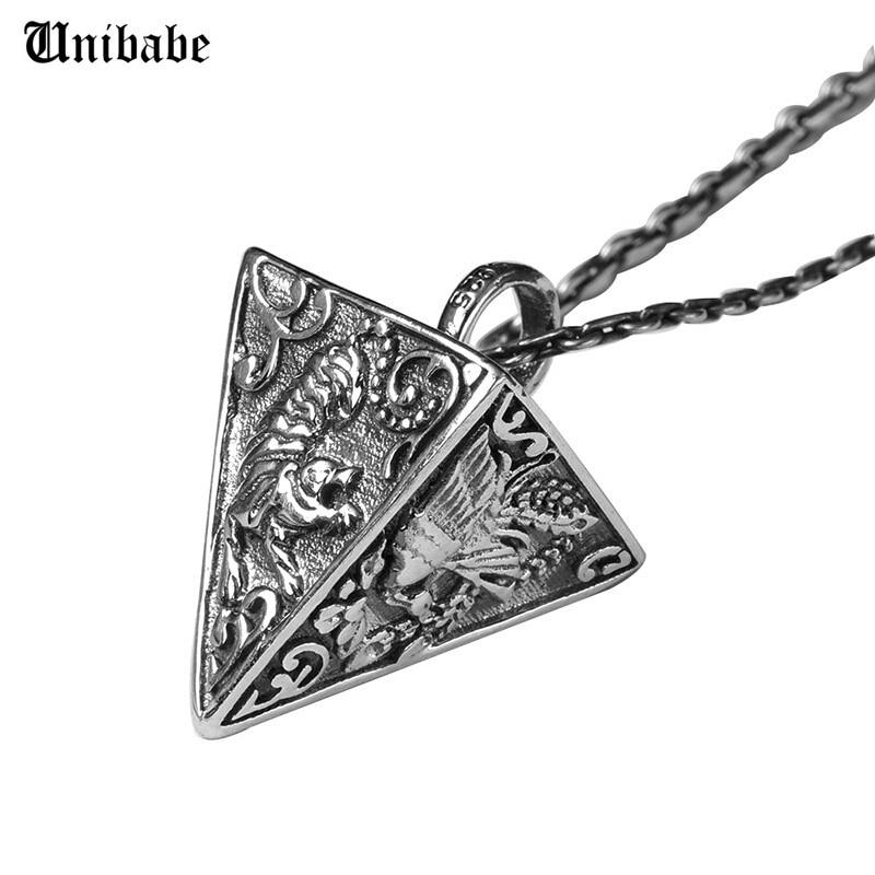 Srebro 925 Wisiorek Piramida Zwierząt Retro Tajski Srebrny S925 Biżuteria Mężczyźni Pomyślny Religijny (3AHP1)