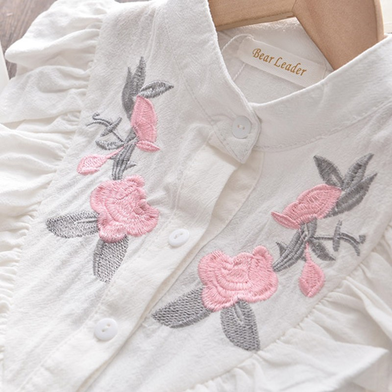 Girls Embroidered Sleeveless Shirt + Shorts Two-piece Suit Summer Cute Flower Clothes 3-8 Years Old Kid Casual Sport Suit Tshirt 4