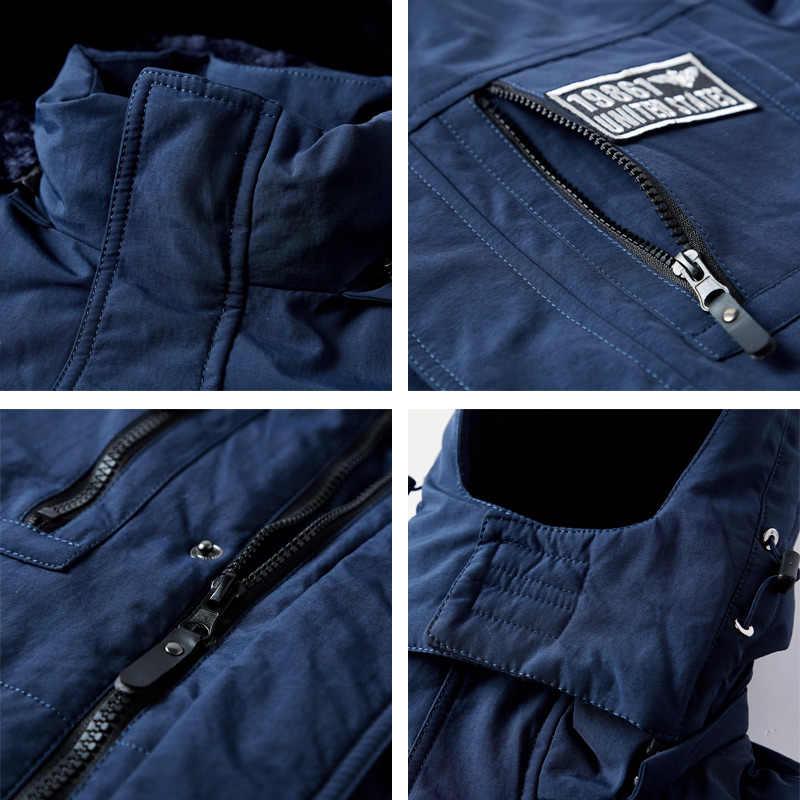 겨울 자켓 남자 따뜻한 코트 두꺼운 군사 오버코트 블랙 블루 육군 녹색 윈드 파커 파카 고품질 양털 면화 패딩