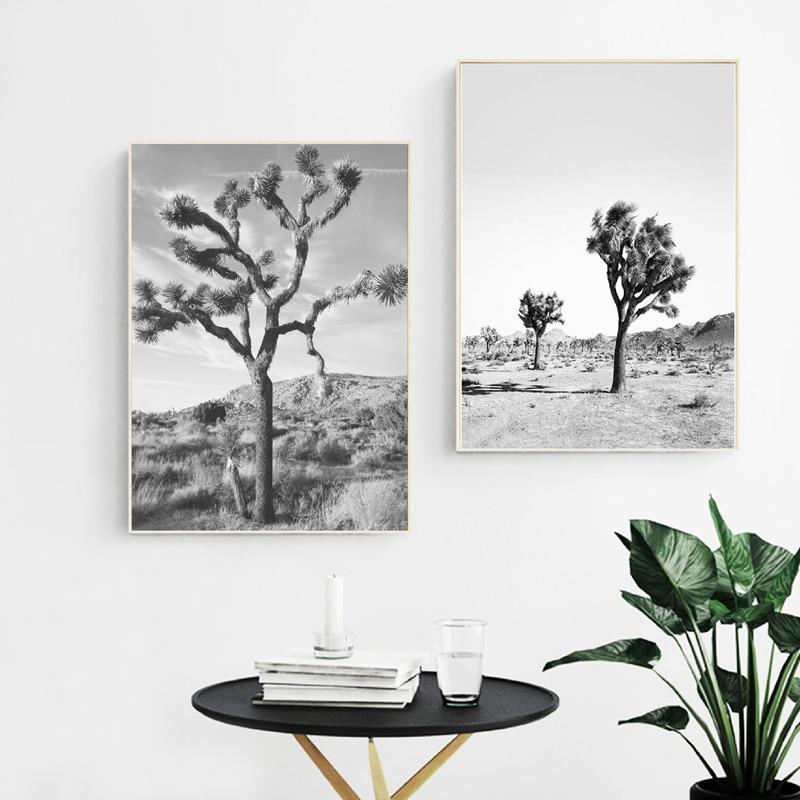 Joshua Tree Wall Art Black And White Canvas Posters Prints California Desert Cactus Painting Modern Minimalism Boho Home Decor
