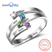 925 סטרלינג כסף ידידות ומשפחה טבעת לחרוט 4 שמות DIY אישית אבן המזל מתנה עבור אמהות (JewelOra RI102510)