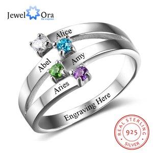 Image 1 - 925 סטרלינג כסף ידידות ומשפחה טבעת לחרוט 4 שמות DIY אישית אבן המזל מתנה עבור אמהות (JewelOra RI102510)