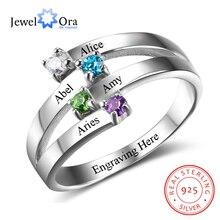 925 Sterling Silver przyjaźń i rodzina pierścień wygrawerować 4 nazwy DIY niestandardowy Birthstone prezent dla mamy (JewelOra RI102510)
