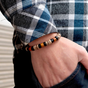 Image 3 - Noter Vintage Wenge Wood Bracelet Men Boy Minimalist 2 Styles Yoga Braslet Prayer Jewelry Accessories Male Charm Brazalete Gift