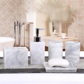 Hot 5 Pcs Resin Bath Accessories Set Lotion Dispenser with Pump+Toothbrush Holder+Soap Dish+2 Tumbler Sets LSK99