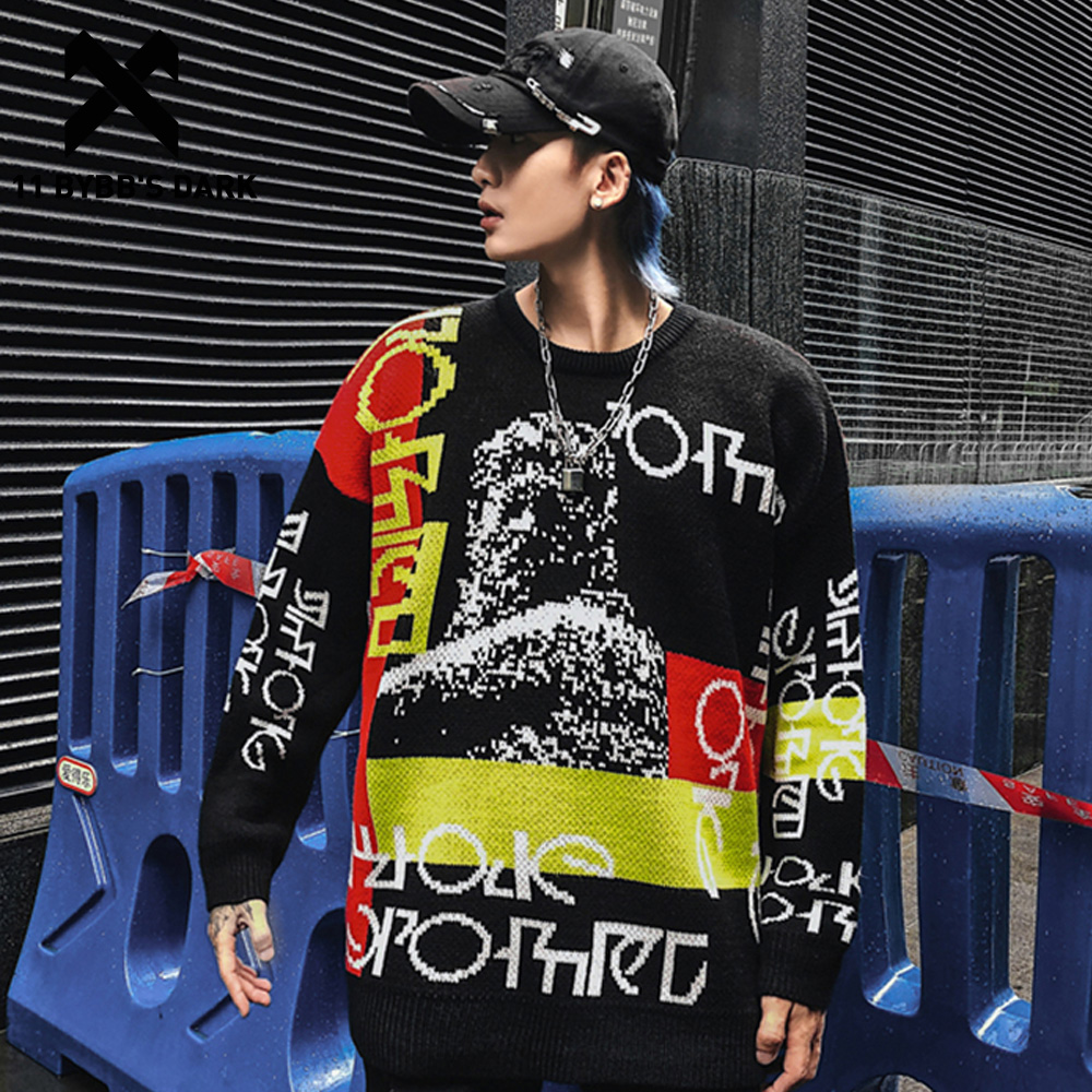 11 BYBB'S DARK Patchwork Letter Printed Knitted Pullover Men 2019 Harajuku Streetwear Autumn Winter Hip Hop Male Casual Sweater