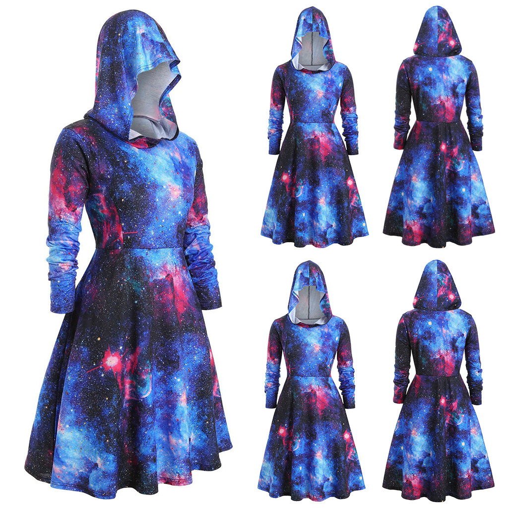 WOMAIL Cape Dress Women Plus Size Long Sleeve Hooded Starry Galaxy Print Autumn Winter Casual Long Cloak Dress Vestido 190927