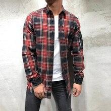 Casual Men Plaid Shirt Spring Autumn Shirt Men Dress Shirts Fashion Long Sleeve Top Slim Chemise Homme Pocket Male Shirts D30
