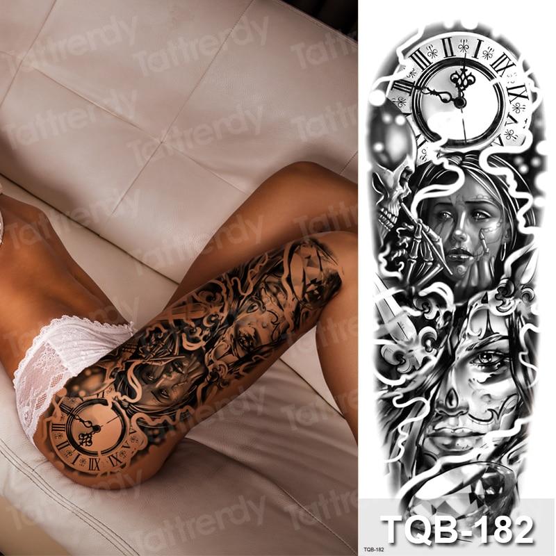 Large Temporary Tattoos Women Thigh Leg Tattoo Sleeve Pattern Waterproof Tatoo Sticker Body Art Sexy Tatoo Fake Water Sheet