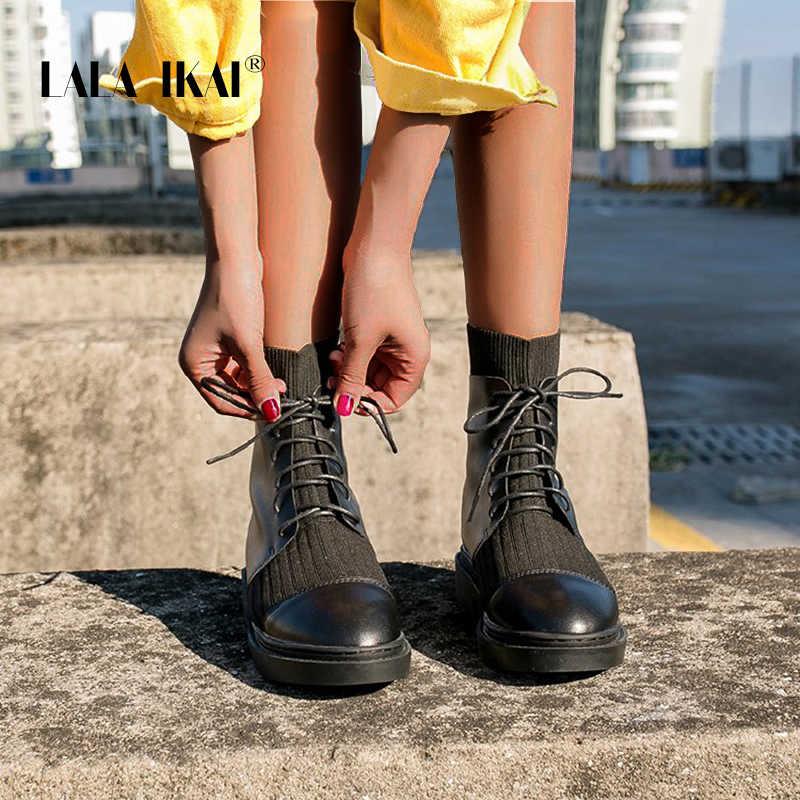 LALA IKAI 2019 kadın yarım çizmeler PU deri siyah yuvarlak ayak ayakkabı kış sıcak dantel-up düz topuklu çizmeler günlük çizmeler XWA9852-4