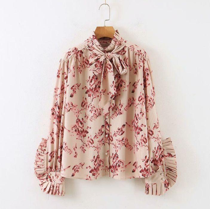 Women Blouses 2020Autumn Women's Temperament Sweet Floral Print With Bow Shirt