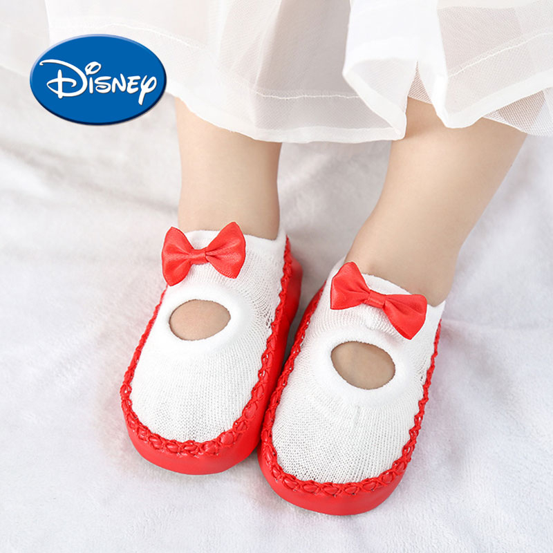 Disney Princess Baby Foot Socks Cartoon Non-slip First Walkers Soft Cotton Toddler Shoes Bow