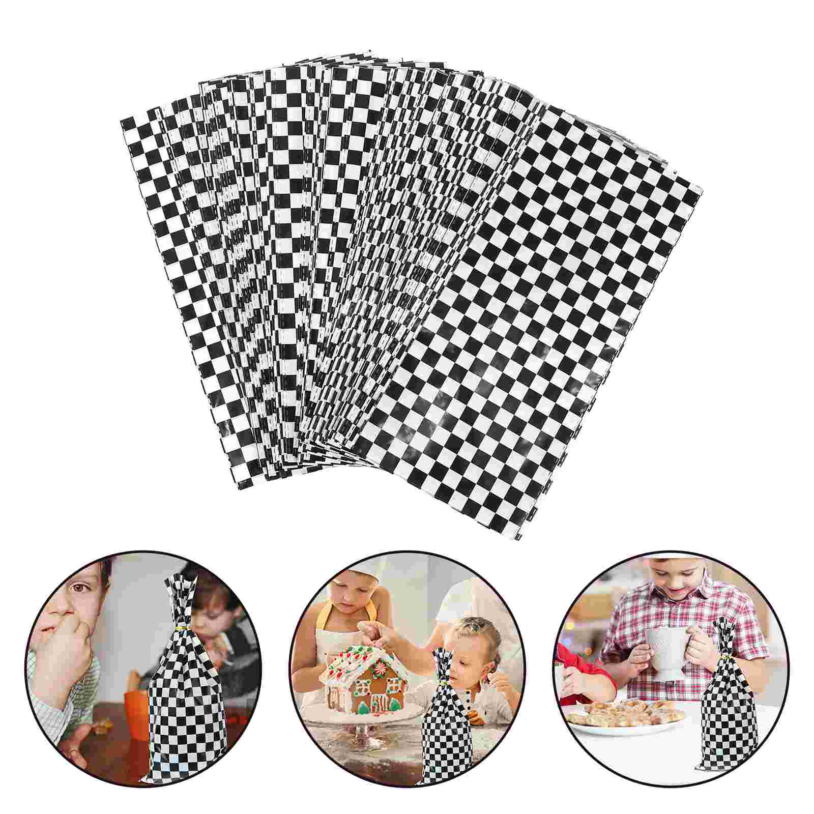 100pcs Food Packing Bag Lattice Printed Treat Bags Creative Bakery Pouches