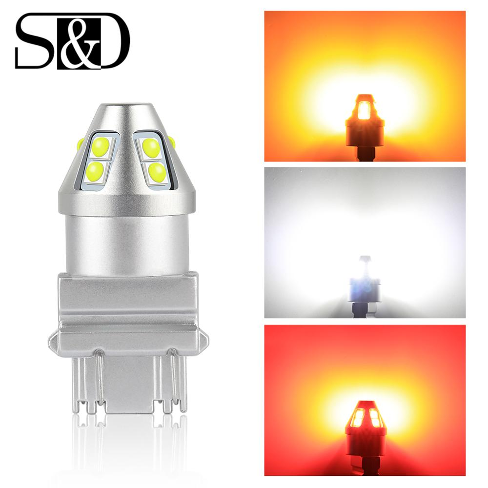 2Pc Super Bright Canbus <font><b>T20</b></font> 7440 W21W 7443 <font><b>W21</b></font>/<font><b>5W</b></font> T25 3157 P27/7W LED Light 12V Red White Yellow Auto Lamps image