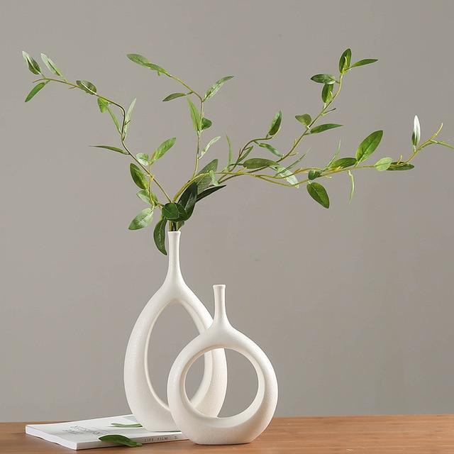 Ceramic Home Crafts Ornaments White Ceramic Vase Small Flower TV Cabinet Wine Cabinet Decorations Vases 1