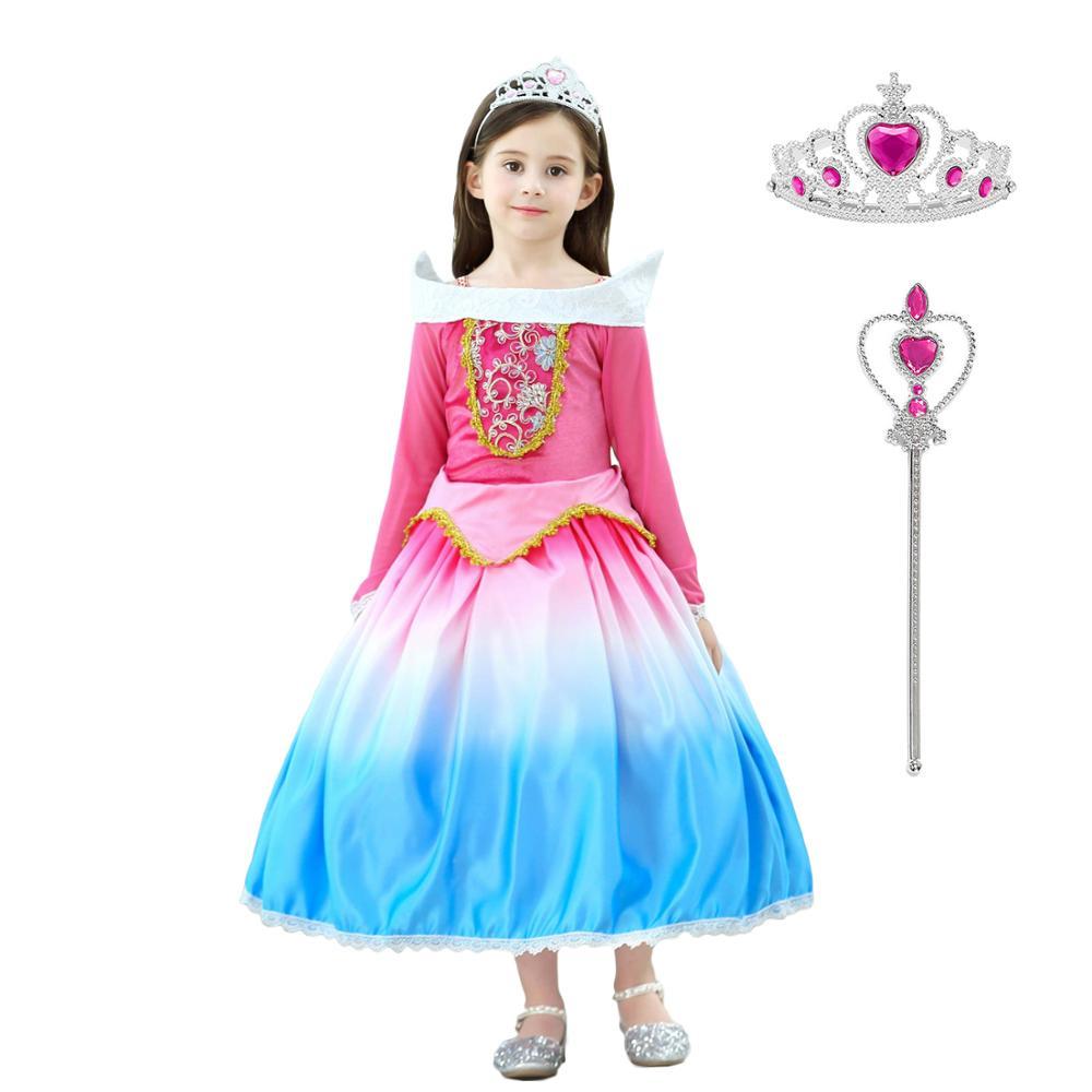 Girl Sleeping Beauty Princess Aurora Fancy Dress Costume Party Halloween Cosplay
