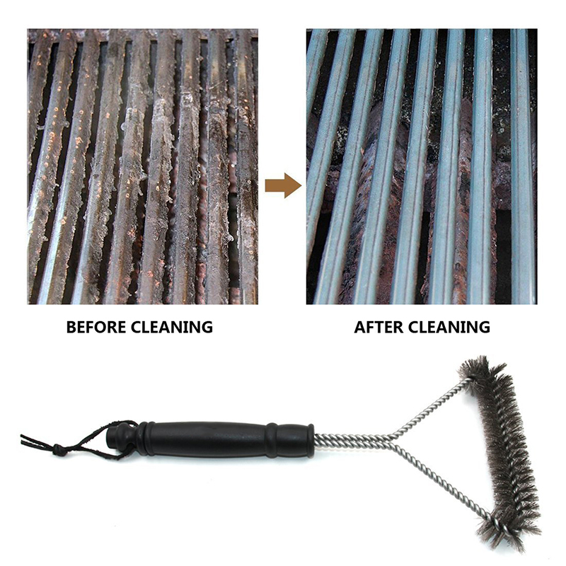 Barbecue Grill BBQ Brush Clean Tool Grill Accessories Stainless Steel Bristles Non-stick Cleaning Brushes Barbecue Accessories 4
