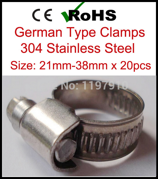 14 mm to 27 mm Diameter range 304 Stainless steel German type Hose clamp Ring 10 pieces