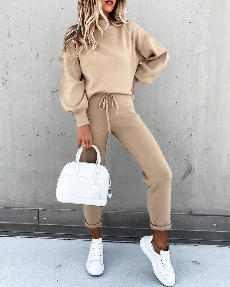 Женский Повседневный флисовый спортивный костюм, комплект из двух предметов, пуловер с длинным рукавом, свитшот, однотонные спортивные шта...