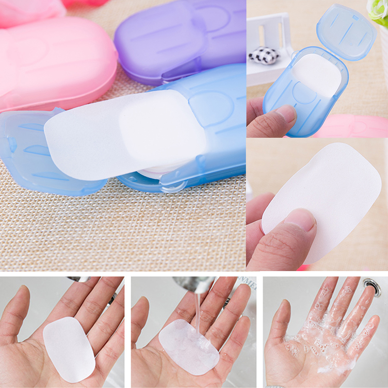 20pcs / Box Portable Foaming Boxed Soap Paper Mini Disposable  Scented Slice Paper Soap Outdoor Travel Cleaning Soap Paper