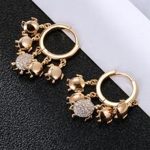 Gold Sliver Plated Hoop Earrings For Women Cute Tortoise CZ Zircon Tassel Earring Fashion Statement Jewelry New Design 2020 Gift недорого