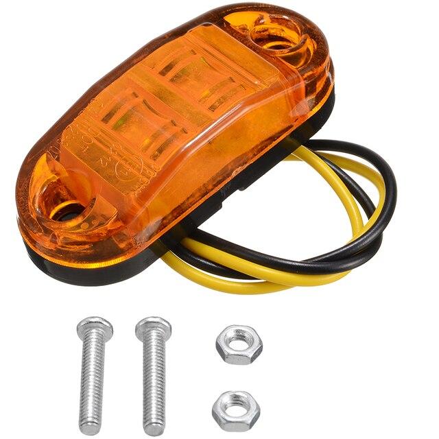 Nieuwe 10pcs 10V 30V 2LED Auto Side Marker Achterlicht Amber Trailer Truck Lamp Auto Bus Truck externe Verlichting Waterdicht