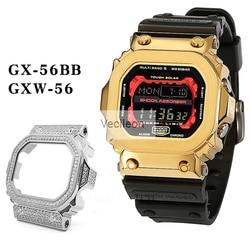 316L Edelstahl Uhr Lünette Für GX-56BB GWX-56 Riesen G Metall Fall Diamant Uhr Teile Retro Schwarz Sliver Mit Schrauben geschenk